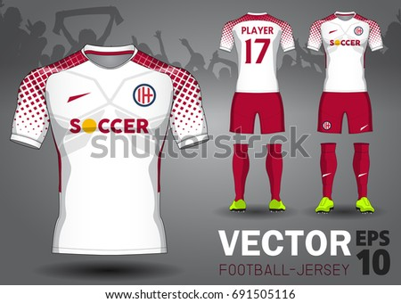 Set of soccer kit or football jersey template for football club. Football apparel mock up