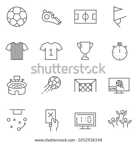Set of Soccer line vector icons. Outline style