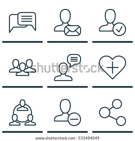 Set Of 9 Social Icons. Can Be Used For Web, Mobile, UI And Infographic Design. Includes Elements Such As Teamwork, Online Chatting, Publication And More.