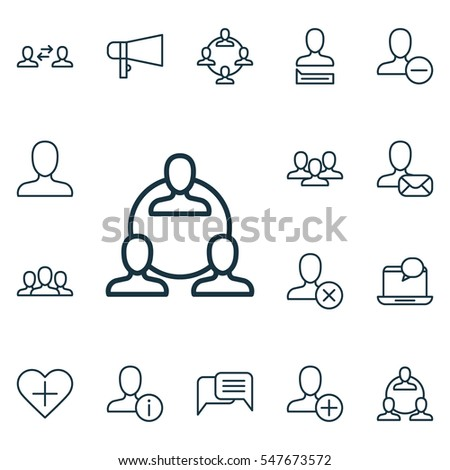 Set Of 16 Social Icons. Includes Business Exchange, Online Chatting, Society And Other Symbols. Beautiful Design Elements.