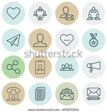 Set Of 16 Social Icons. Includes Medal, Publication, Speaking People And Other Symbols. Beautiful Design Elements.