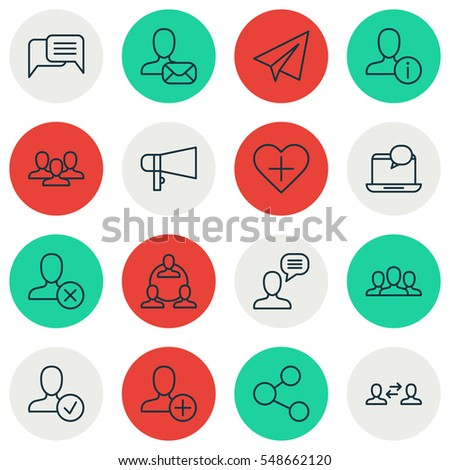 Set Of 16 Social Icons. Includes Online Chatting, Business Exchange, Publication And Other Symbols. Beautiful Design Elements.
