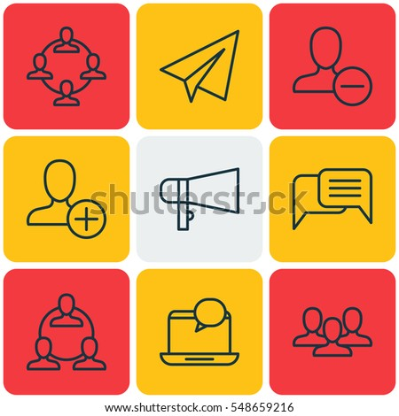 Set Of 9 Social Icons. Includes Online Chatting, Team Organisation, Bullhorn And Other Symbols. Beautiful Design Elements.