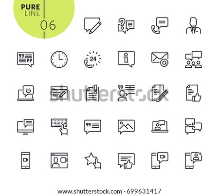 Set of social media and networking icons. Modern outline web icons collection for web and app design and development. Premium quality vector illustration of thin line web symbols.