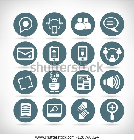 set of social media buttons, web application icon set - stock vector