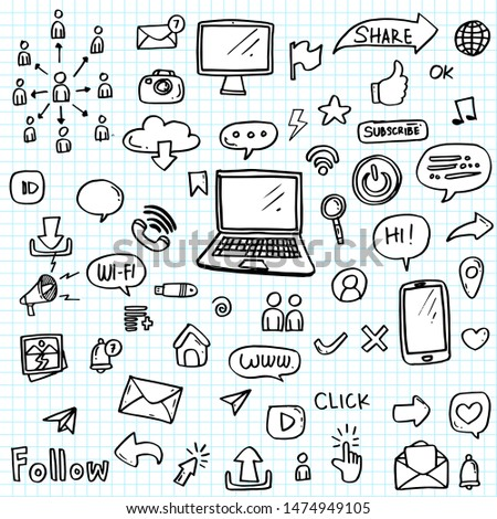 set of social media icon hand drawn.Social media vector doodles.Vector illustration for print,web,mobile and infographics.