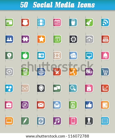 Set of 50 social media icons and paper cut - vector icons