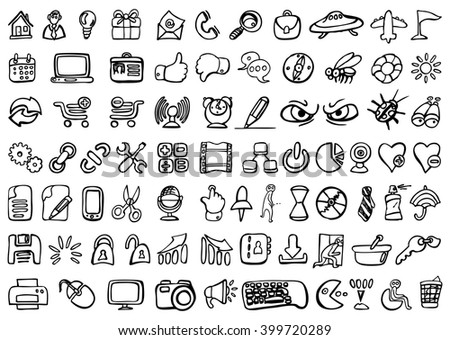 Set of 77 social media icons - hand drawn vector illustration, isolated on white
