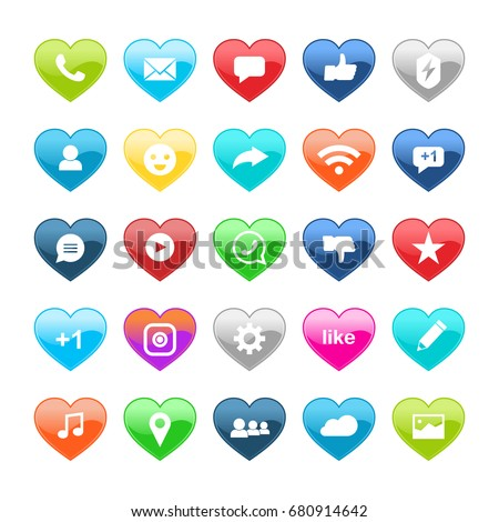 set of social media  icons in colored hearts