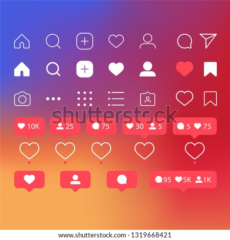 Set of social media icons inspired by Instagram: like, follower, comment, home, camera, user, search. Vector illustration with rainbow background