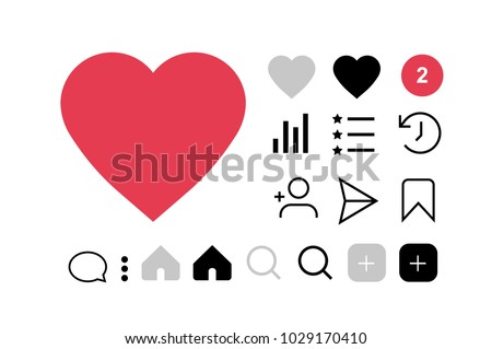 Set of social media icons like, follower, comment, home, camera, user, search. Vector illustration. Instagram interfase icons set. Flet icons instagram.