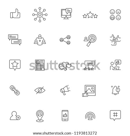 set of social media influencer related icon with simple outline and editable stroke #1193813272