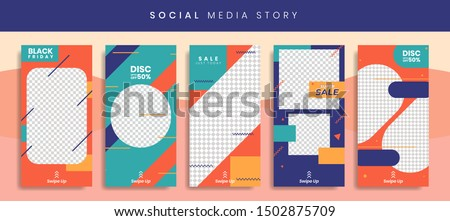 Set 5 of Social Media Instagram Networks Stories Sale Banner Background, Mobile App, Poster, Flyer, Coupon, Gift Card, Smartphone Template Story,Liquid Abstract Modern. editable template eps 10 vector