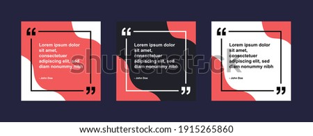 Set of Social Media Post Design Template for Quotes. Social Instagram Post or Square Banner with Creative Abstract Background and Border