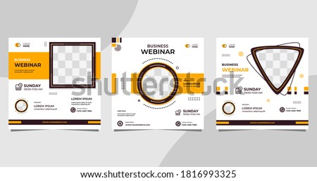 Set of social media post template for Business conference Webinar, Marketing Webinar, and other seminars. with White and Orange background
