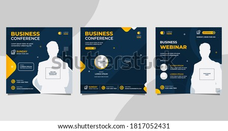 Set of social media post template for Business conference Webinar, Marketing Webinar, and other seminars. with Navy and Orange background