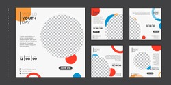 Set of social media post template. Social media template with circle mockup and white background for World Youth day design. Good template for online advertising design.