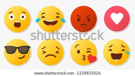 Set of social media reactions