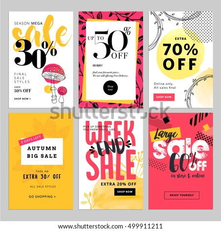 Set of social media sale banners and ads web templates. Vector illustrations for website and mobile website banners, posters, email and newsletter designs, ads, coupons, promotional material.