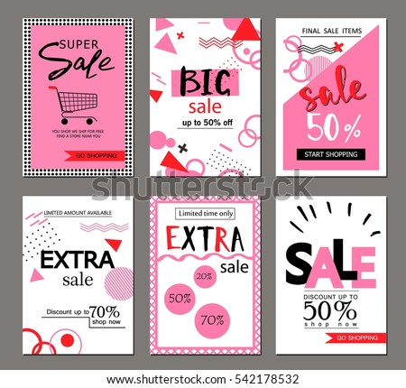 Set of social media sale website and mobile banner templates. Vector banners, posters, flyers, email, newsletter, ads, promotional material. Typography discount card design. #542178532