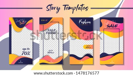 Set of Social Media Stories Templates Sale Banner Background Dynamic Fluid. Modern Dark Navy Yellow Orange Pink Gradient Liquid. Modern layout Design eps10 editable vector