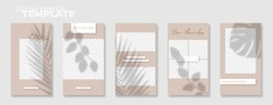 Set of 5 social media story layouts with summer shadows. Editable stories vector templates pack. Autumn Collection 2019-2020.  Layout for business story (fashion, beauty): new arrival, new collection