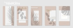 Set of 5 social media story layouts with summer shadows. Editable stories vector templates pack. Autumn Collection.  Layout for business story (fashion, beauty): new arrival, new collection,