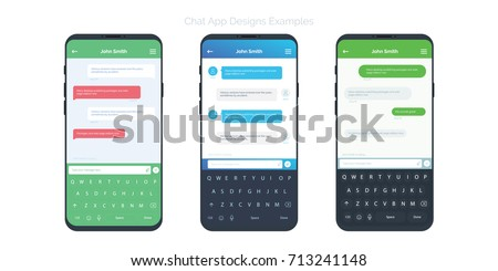 Set of Social network chat window concepts with different app design ideas. Chatting and messaging UI and UX app mobile screens. Vector design elements for app design.
