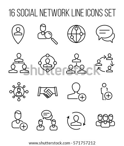 Set of social network icons in modern thin line style. High quality black outline communication symbols for web site design and mobile apps. Simple people pictograms on a white background.