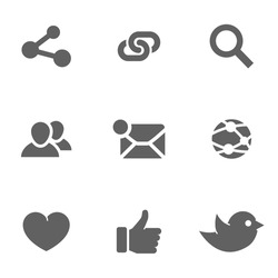 Set of social network icons. Twitter, bird, search, computing mail, like hand, links, people,global network, heart. Vector illustration