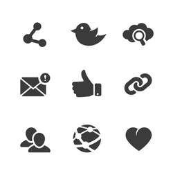 Set of social network icons with links twitter bird cloud computing  mail  like  hand  chain links people chat global network heart and contacts in black silhouette vector illustration