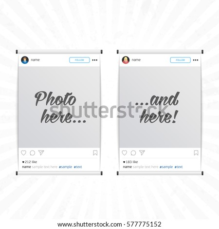 Set of social network photo frame isolated on light background. Inspired by instagram. Modern design frame for Photo with shadow. Decorative template framework. Insert your picture. Vector