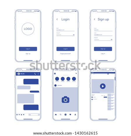 Set of social network photo, post frames and other pages vector illustration. Inspired by social resources. Mock up Vector illustration Modern design of news. Vector illustration