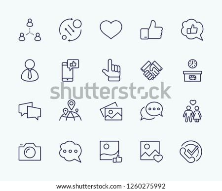 Set of Social Networks Related Vector Line Icons. Contains such Icons as Profile Page, Rating, Social Links and more. Editable Stroke. 32x32 Pixel Perfect. #1260275992