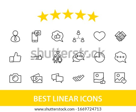 Set of Social Networks Related Vector Line Icons. Contains such Icons as Profile Page, Rating, Social Links and more. Editable Stroke. 32x32 Pixels