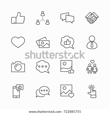 Set of Social Networks Related Vector Line Icons. Contains such Icons as Profile Page, Rating, Social Links and more. Editable Stroke. 32x32 Pixel Perfect. #722885755