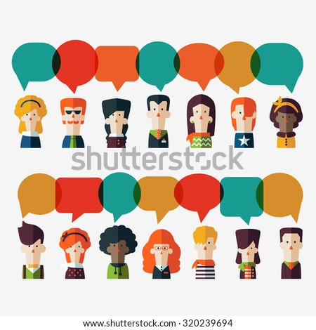 Set of social people icons with colorful dialog speech bubbles. Male and female faces avatars in modern design style. Communication, chat, assistance, interpretation and connection vector concept