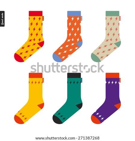 Set of socks with flash pattern Original hipster design