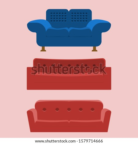 Set of sofa. Collection of sofa in flat style by classic blue and lush lava. Vector illustration