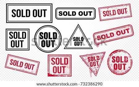 Set of sold out red end black grunge stamp, sale badge template. Vector illustration. Isolated on transparent background