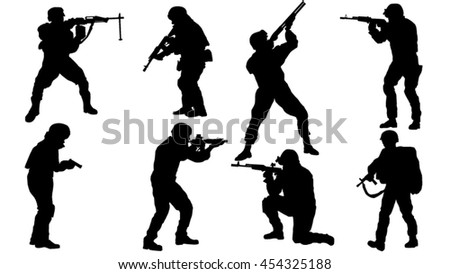 set of soldier silhouette