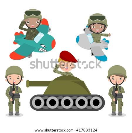 set of soldiers  cartoon
