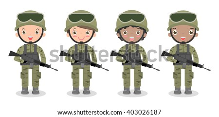 set of soldiers men and women