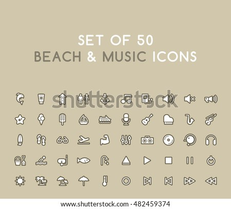 set of 50 solid beach and music