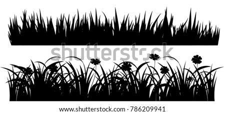 Set of solid black grass isolated from a white background. Vector illustrations