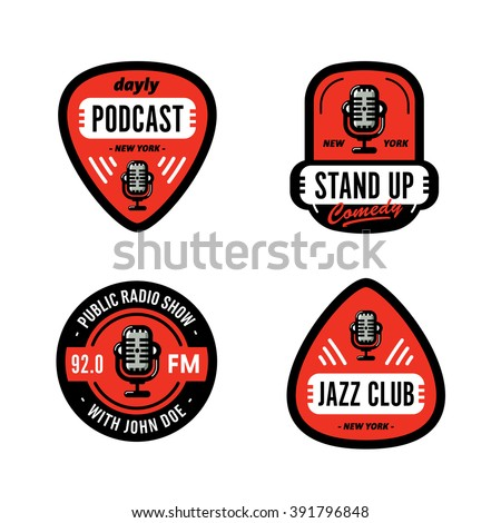 Set of Solid, Bold, Strong & Clean Badges Symbols For Stand Up Comedy, Radio Show, Podcast, Performer, Singer, DJ, Music Club, Broadcast etc. Collection of Original Effective Powerful Emblems & Marks