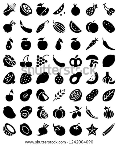 Set of Solid fruits and vegetables icons #1242004090