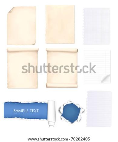Set of some paper sheets. Vector illustration.