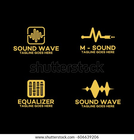 Set of Sound wave Logo, Equalizer Logo template design
