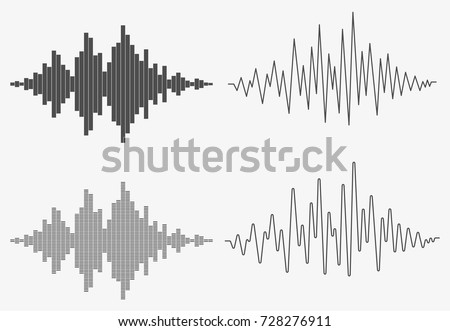 Set of sound waves. Audio equalizer technology, pulse musical. Music wave. Template design for club, radio, pub, party, concerts, recitals. Vector illustration